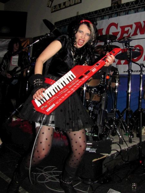 Playing Keytar in an 80's retro band.