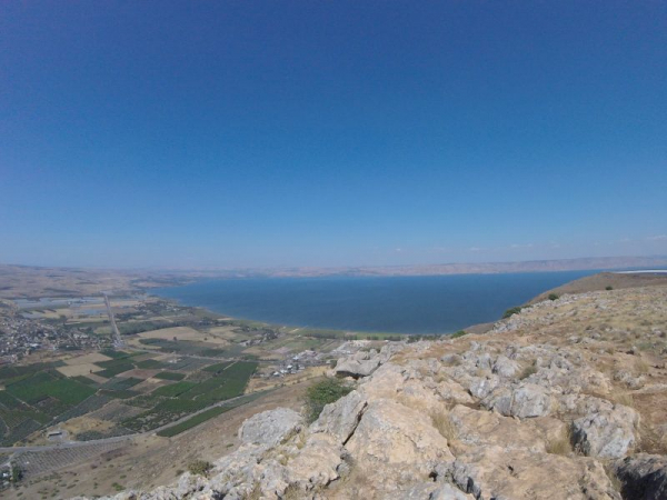 The Sea of Galilee!  I am very near the area where the Sermon on the Mount by Jesus Christ