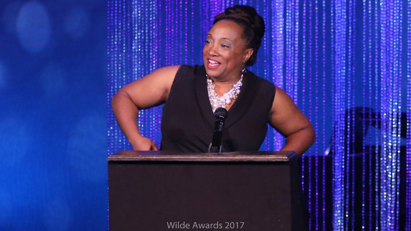 Accepting the 2017 Wilde Award for Best Leading Actress in a Drama