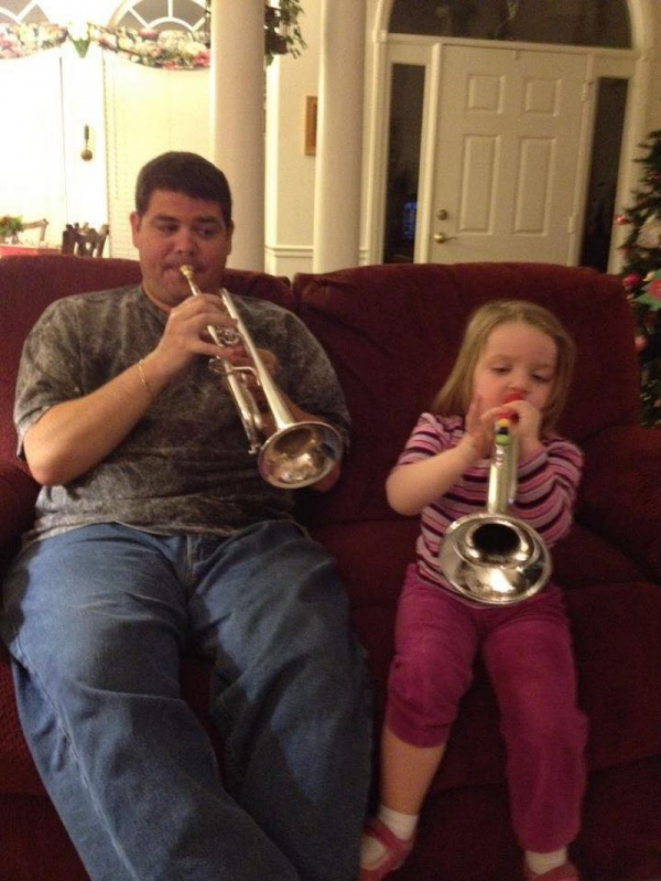 Playing with my niece. She now takes online lessons with me, and recently made All-County Band in South Carolina on trumpet!