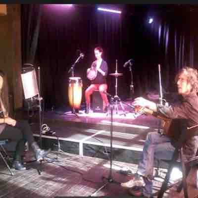 Musically directing Raye's band before a concert