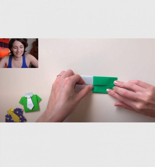 Kat's Origami Workshops use two cameras including an overhead camera.