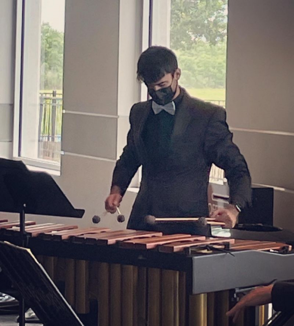 Performing with the Texas Chamber Symphony on marimba.