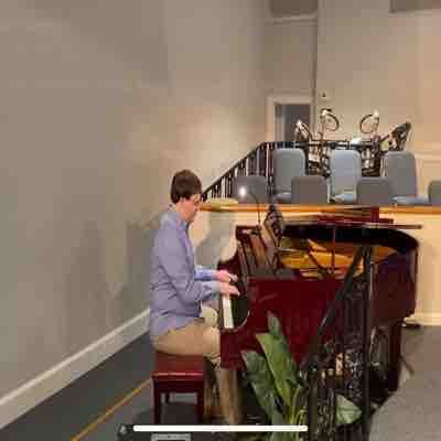 Me playing the piano at Mount Harmony Church!
