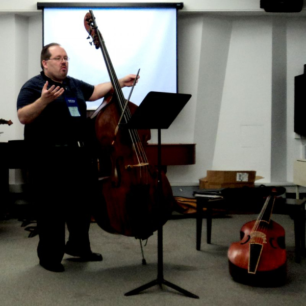 Phillip Serna presenting at the 2013 International Society of Bassists Convention at the Eastman School of Music, University of Rochester