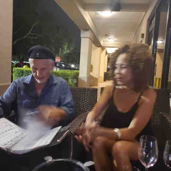 Tony Kessler (Mr. Tony) going over the song set list before the show with the show's singer Sabrena Rich