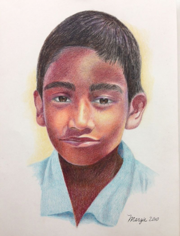 Drawing lesson - Draw a face - colored pencil.