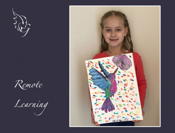 Beautiful hummingbird painting by the talented young artist Veronika M. Art medium: Watercolors on paper photo courtesy: Emil M.