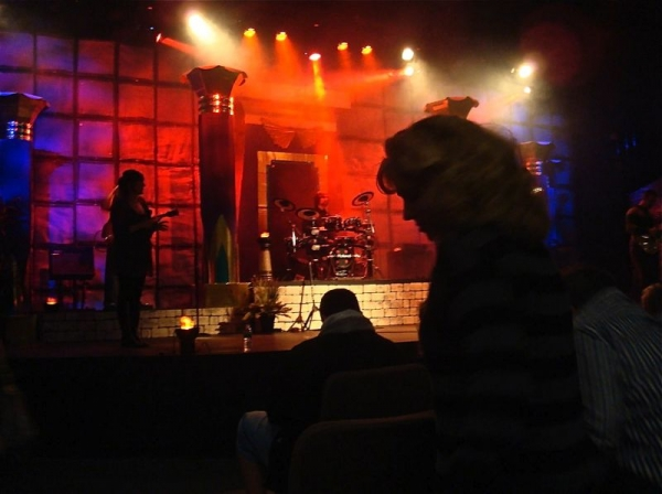 Performing at Movie Church on my V-Drum kit.