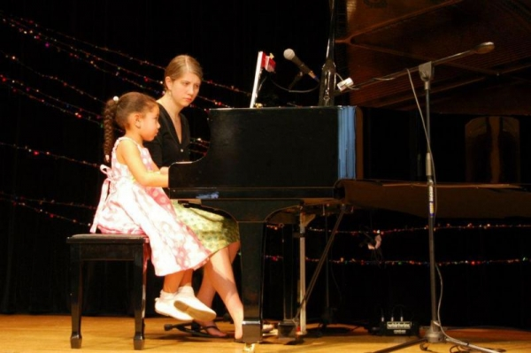 Accompanying student Tanya at a studio recital in Queens, NY.