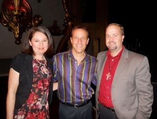 Jenny and husband, Scott, with Jim Brickman.  We got to sing with Jim at his last appearance at the Crest Theatre in November, 2011.