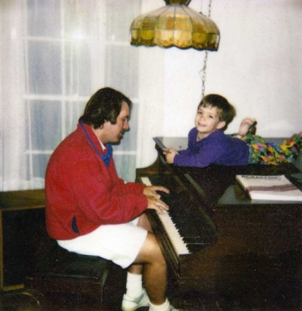Playing piano for my son Stevie.