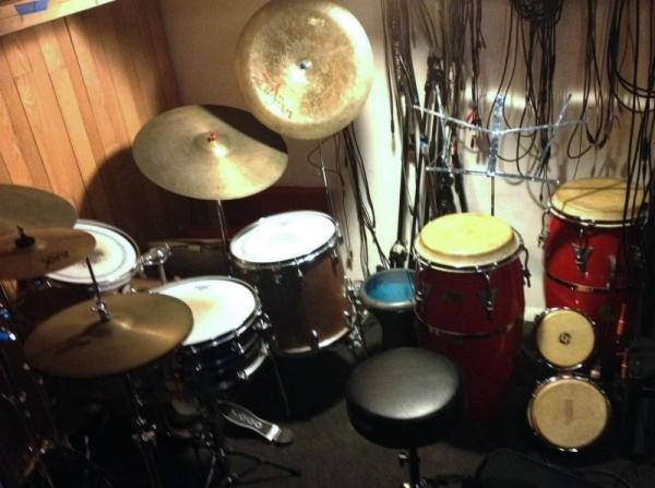 Drums and congas in my teaching studio