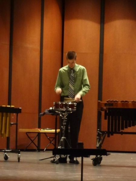Performing a Snare Drum Solo.