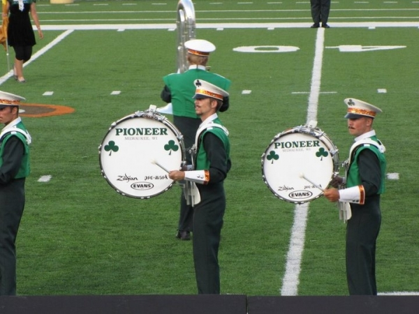 Performing on Rudimental Bass Drum with the Pioneer Drum and Bugle Corps.