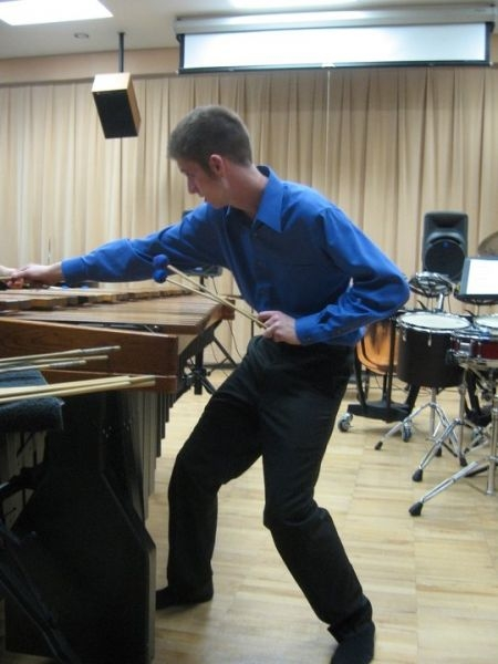 Performing a Marimba solo.