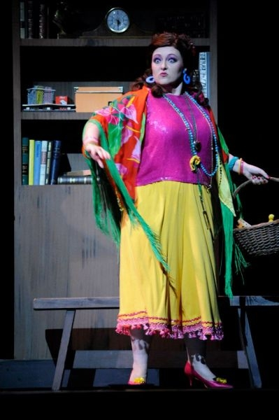 "A snapshot from my role as ""Madame Euterpova"" in BYU's production off Menotti's ""Help, Help the Globolinks."""