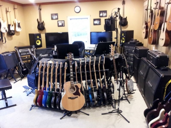 Bunches of guitars and other gear.