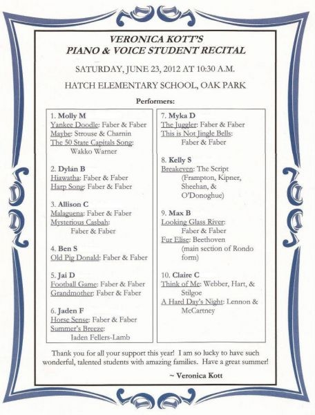 Recital Program, 2012