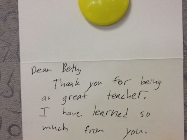 A thank you card from a student
