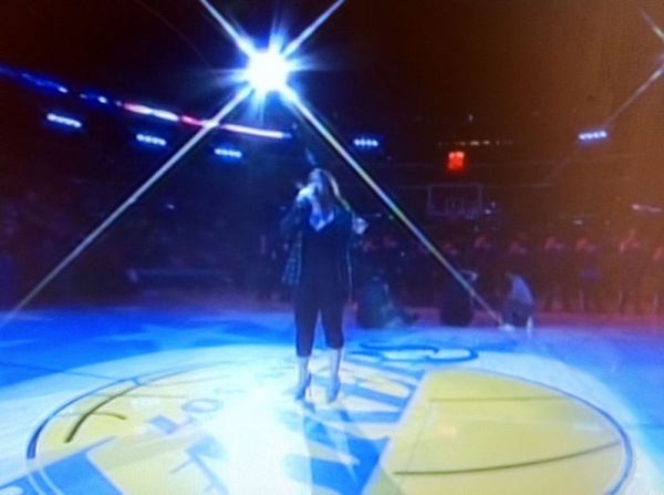 Sharon Tanyag Singing the National Anthem at Staples LAKERS VS OKLAHOMA