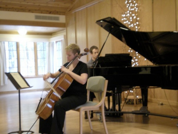 A blurry picture but an excellent memory performing Beethoven Cello Sonatas in Door County, Wisconsin with pianist Dave Plank.