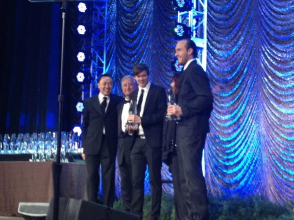 Receiving the BMI Film & TV Award for Ninjago, May 2012