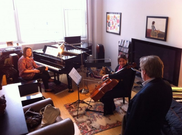Pros rehearsing for the concert premier of new sonata by composer Andrew Rudin.