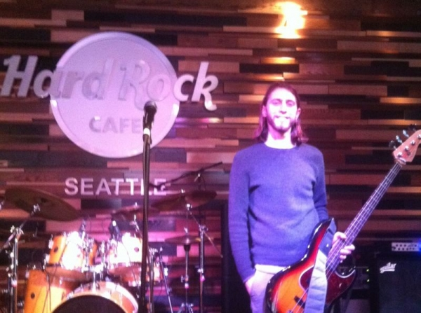 Before a gig at the Hard Rock Cafe Seattle.