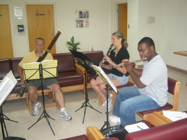 G.A.N.G. 116th Army Band - woodwind quintet rehearsal