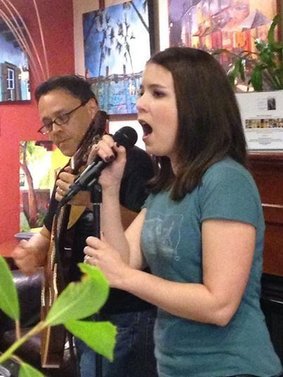 Heather, performing as half of St. Augustine acoustic duo, Timberwood