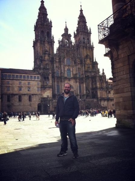Outside of the Cathedral of Santiago, after having completed El Camino de Santiago.