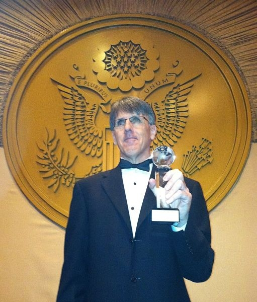 Jeff in the Presidential Ballroom of the Capital Hilton Hotel in D.C., after receiving the award for Best Rock Music Video in 2012.