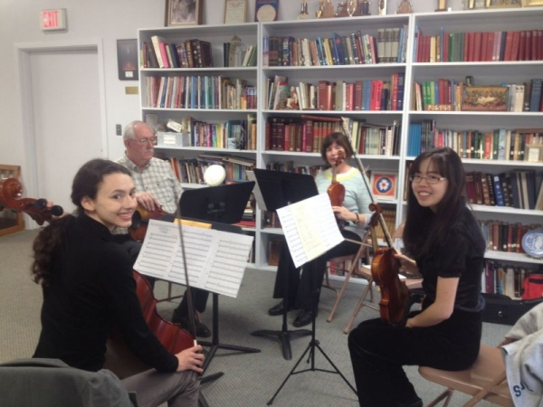 String ensemble rehearses once a week and performs in quarterly recitals.