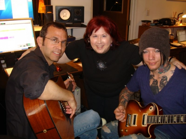 "DJ Ashba from Guns and Roses recording his guitar part on our song ""When I Was Small"" by DJ Ashba, Heather Bradley and Jan."