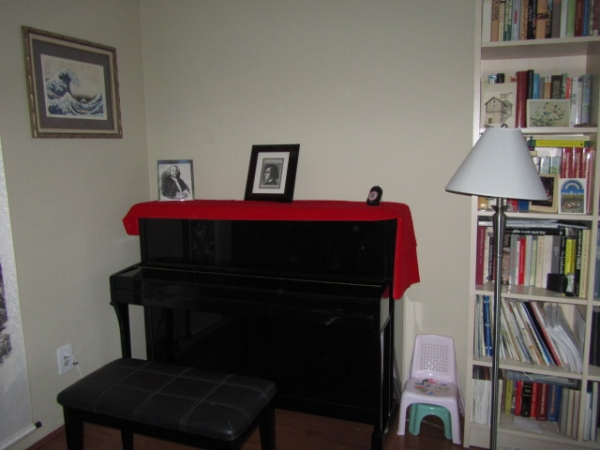 An up-right piano at Joie Piano Studio.