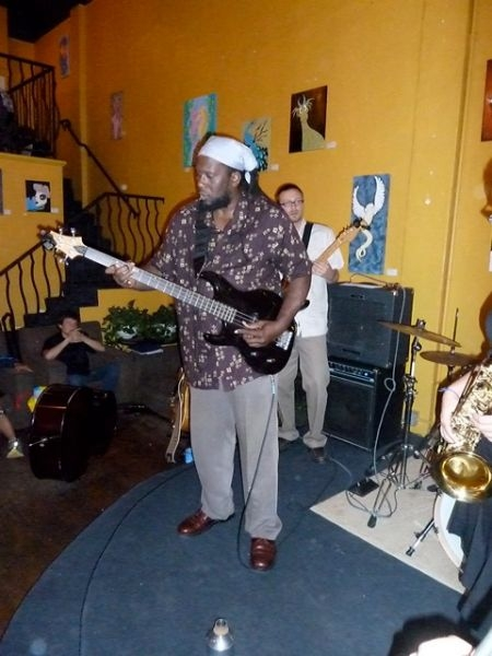 Playing bass with a jazz group inside Claire de Lune in San Diego