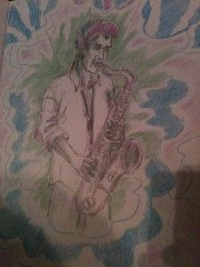 Ellen Gabehart drew this while I was playing a show!