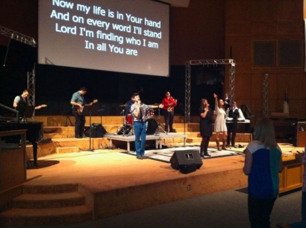Me and my team leading worship for my senior worship project my senior year of college!