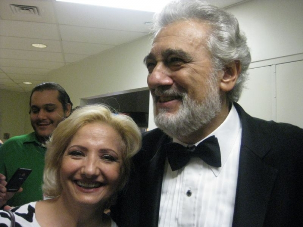 With Placido Domingo, following his conducting of us in Luisa Fernanda