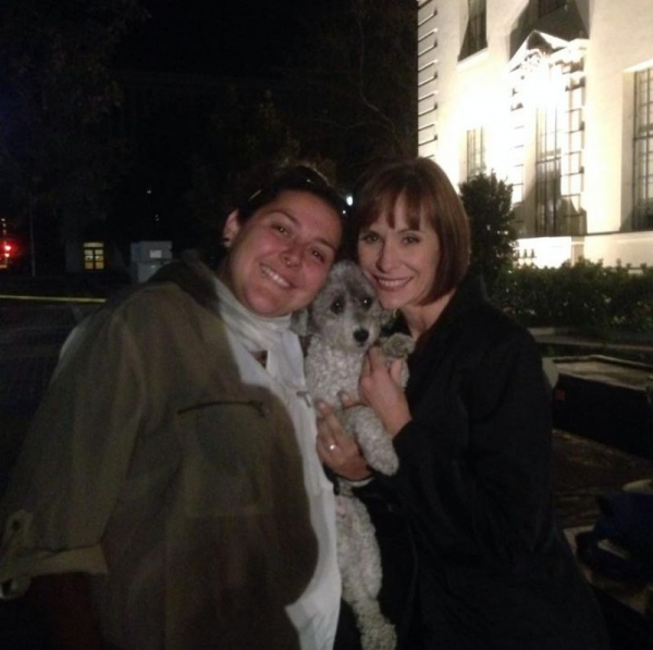Francesca and her dog taking a break backsage from performing w Broadway great Susan Egan