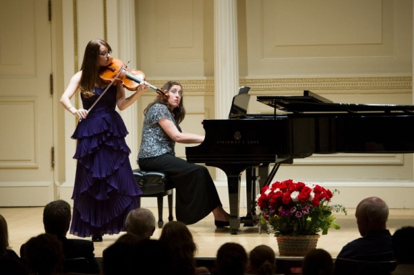 Performing in Carnegie Weill Recital Hall with Sarah Greene, Violist , age 19. May 2012. Brahms F minor Sonata.