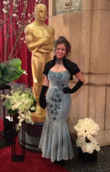 A dress I designed, constructed and embellished for the 2013 Academy Awards. I also made the bolero jacket.