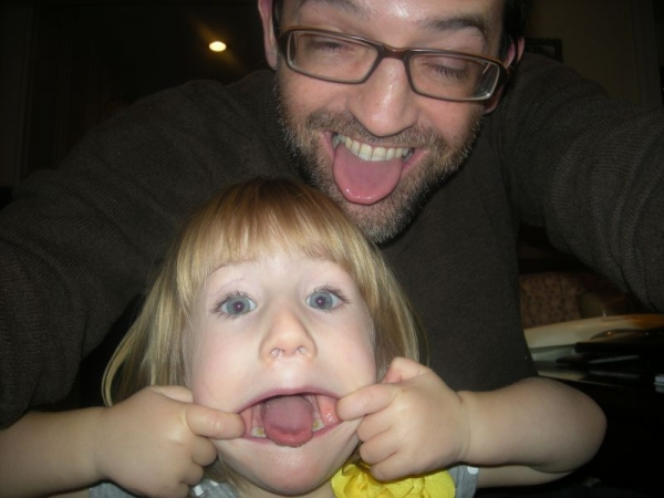 My and daughter and me making funny faces. She's following right in my footsteps!