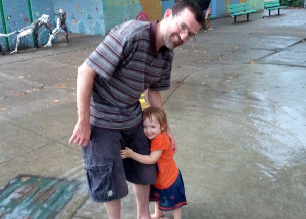 Puddle fun in the park with my little one.