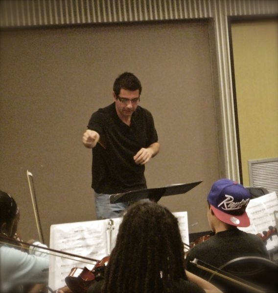 Nicolas rehearsing the Greater Miami Youth Symphony and the South Florida Youth Symphony for their May 2012 concert.