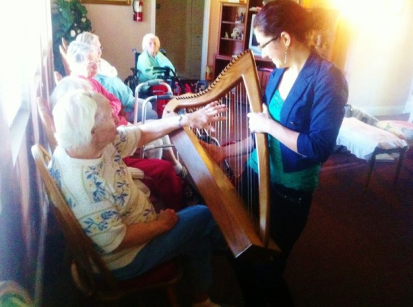 They got to touch the harp for the first time!