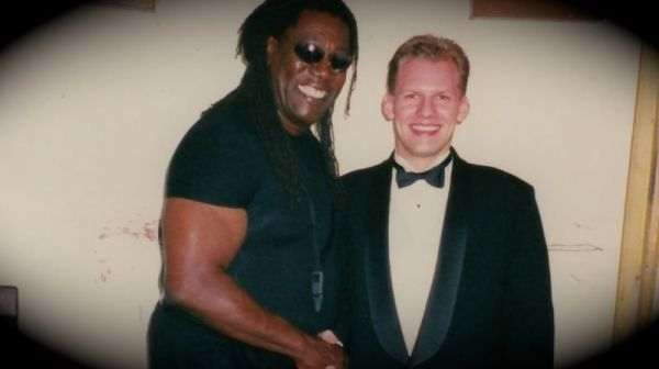 "With my buddy ""the big man"", Clarence Clemons. R.I.P Clarence"