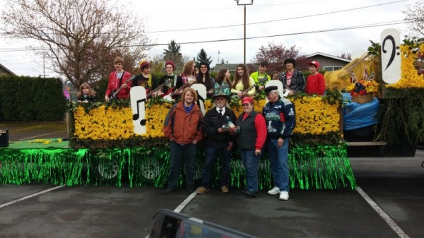 Students from The Chops Shop on the Puget Sound Music for Youth float after the 2014 Daffodil Parade.