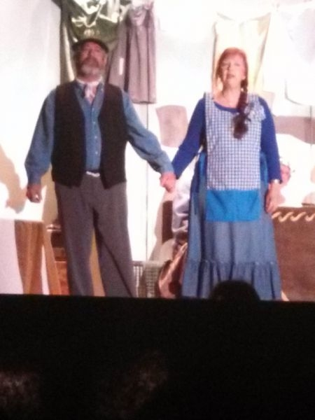 """Mr. Bucket and I singing """"Cheer Up Charlie"""" in the Willy Wonka musical at my church in April, 2014."""